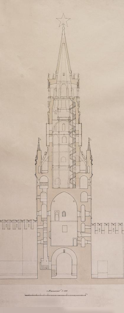 """Фиксационный чертеж из альбома  """"Спасская башня """".  Поперечный разрез.  1948-49 г.г."""