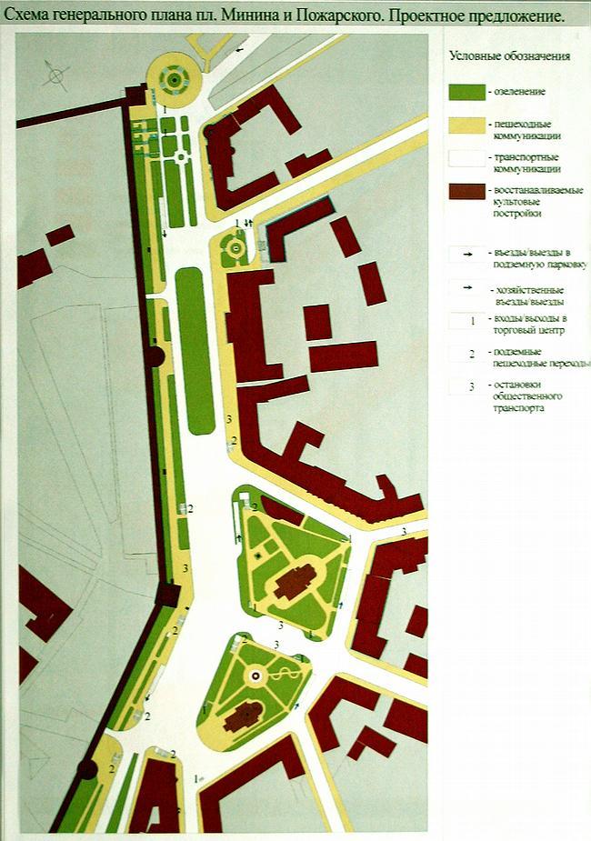 Схема генплана площади Минина