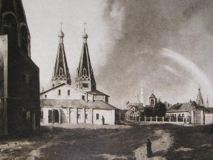 Собор Алексеевского монастыря в Чертолье. Картина К.И.Рабуса