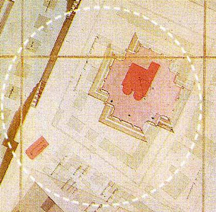 Собор Алексеевского монастыря в Чертолье. План, наложенный на план храма Христа Спасителя, найденный и опубликованный В.А. Рябовым