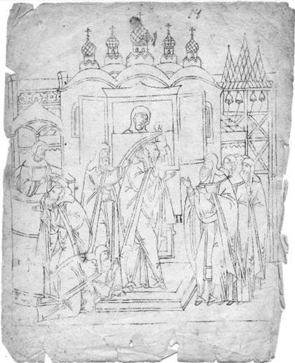 Три иконных образца с изображением сцен «Сказания о Богоматери Тихвинской» из собрания музея имени Андрея Рублёва