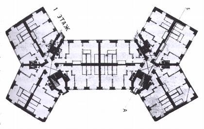 2 a. Дом для рабочих. Москва, ул. Стромынка. Арх. Н.Ладовский. 1924 г. План 1-го этажа с квартирами.