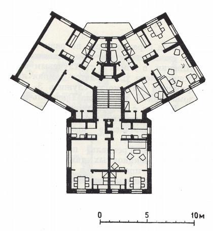 3 а. 2-этажный дом в Грендале. Стокгольм. Швеция. Арх. Бакстрэм, Рейсмус. 1944-1946 г.г. План типового этажа.