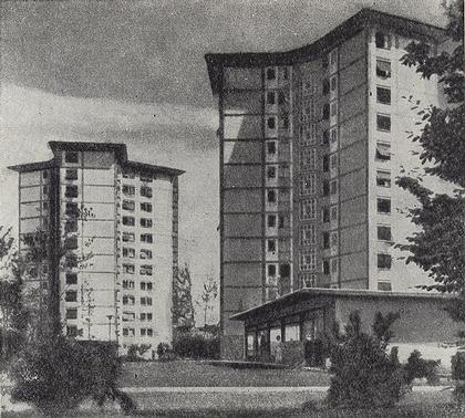 4 б. 12-этажный дом в жилом комплексе Летциграбен. Цюрих. Швейцария. Арх. Штейнер. 1951-1952 г.г. Вид застройки.