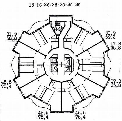 11 а. Проекты 24-этажных жилых домов в сборно-монолитных конструкциях с первым нежилым этажом И-1279, И-1289, И-1303. Москва, Каширское ш. Арх. Ю.Григорьев, Г.Калашников, И.Калашникова, И.Денисьев, В.Дадья. (МНИИТЭП М-2). 1995г. План типового этажа.
