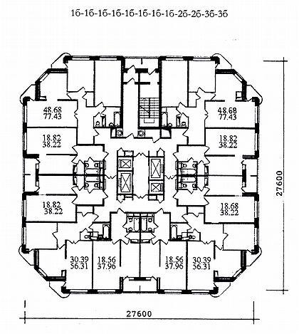 14 а. Проект комплекса жилых домов для экспериментального строительства И-1782/1-5 (МНИИТЭП М-2). План типового этажа.