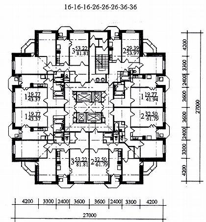 15 а. Проект 25-этажного жилого дома в монолитных конструкциях И-1822 (МНИИТЭП М-2). План типового этажа.