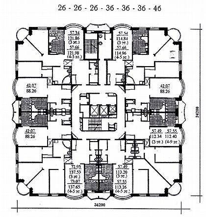 16 а. Проект 22-этажного жилого дома с ФОК и подземной стоянкой И-1737 (МНИИТЭП М-2). План типового этажа.