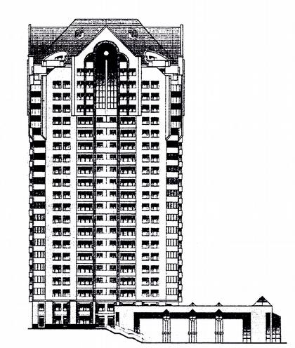 16 б. Проект 22-этажного жилого дома с ФОК и подземной стоянкой И-1737 (МНИИТЭП М-2). Фасад.