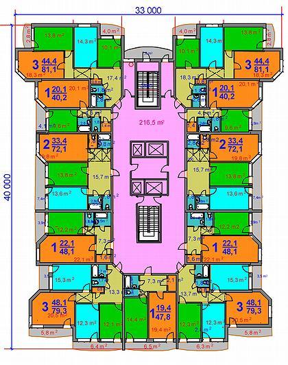 22 а. Варианты многолучевых зданий для высотного строительства. Арх. А.А.Магай, Н.В.Дубынин. 2000 – 2003 г.г. План типового этажа (вариант).