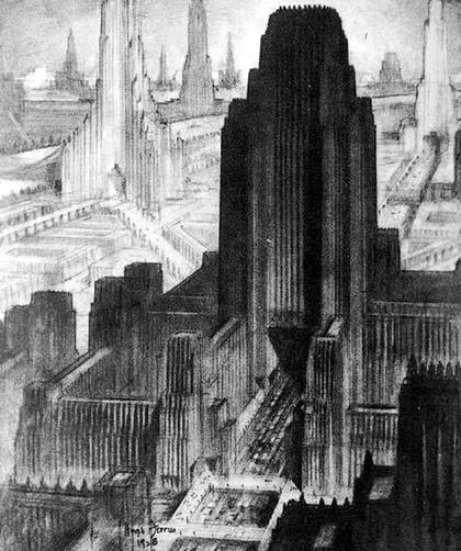 14. Х.Феррис, архитектурная фантазия из альбома Метрополис, 1929.