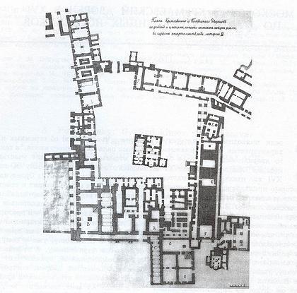План подклетного этажа Кремлевского дворца. Копия XIX в. с плана 1768 г. (арх. К. И. Бланк). Фрагмент