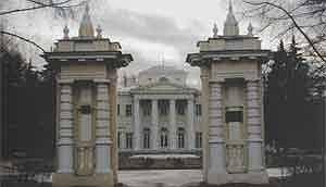 Ворота парадного двора (на заднем плане - портик и бельведер господского дома)